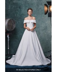 Sareh Nouri - Angelina Off The Shoulder Faille Wedding Dress - Lyst