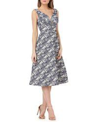Kay Unger - Sleeveless Jacquard A-line Tea Length Dress - Lyst