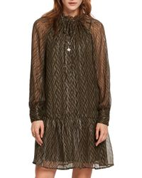 Scotch & Soda - Print Metallic Ruffle Hem Dress - Lyst