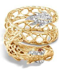 John Hardy - Legends Naga Dragon Coil Ring With Diamonds - Lyst
