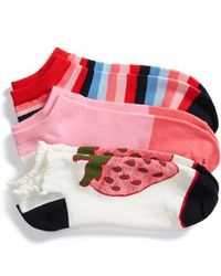 Kate Spade - Strawberry 3-pack No-show Socks, White - Lyst