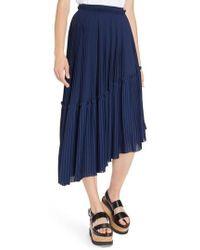 KENZO - Asymmetrical Pleated Midi Skirt - Lyst