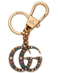 Gucci - Crystal Embellished Double-g Bag Charm - Metallic - Lyst