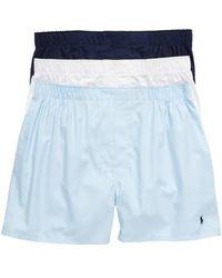 Polo Ralph Lauren - 3-pack Cotton Boxers, Blue - Lyst