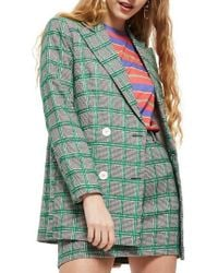 TOPSHOP - Double Breasted Windowpane Plaid Jacket - Lyst
