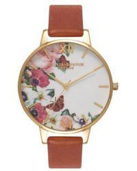 Olivia Burton - English Garden Leather Strap Watch - Lyst