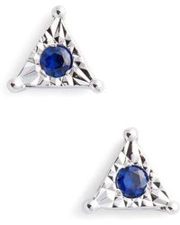 Dana Rebecca   Emily Sarah Sapphire Triangle Stud Earrings   Lyst