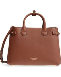 0a83e24ad5f1 Lyst - Burberry Small House Check And Leather Bowling Bag in Brown