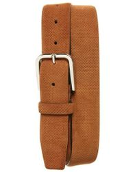 Canali - Perforated Suede Belt - Lyst