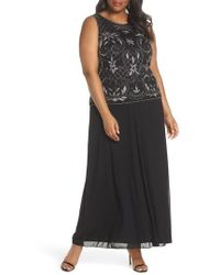 Pisarro Nights - Beaded & Embroidered Bodice Mesh A-line Gown - Lyst