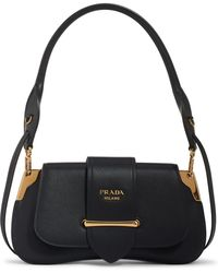 41009b403c59 Prada Saffiano Leather Mini Top Handle Satchel in Black - Lyst