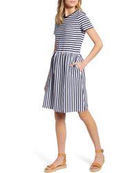 b7961592c565 1901 Colorblock Midi Dress in Blue - Lyst