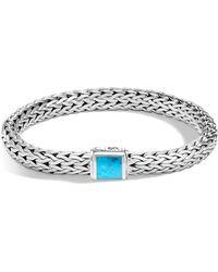 John Hardy - Classic Medium Chain Silver & Turquoise Bracelet - Lyst