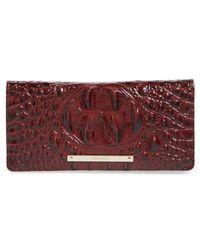 Brahmin - 'ady' Croc Embossed Continental Wallet - Burgundy - Lyst