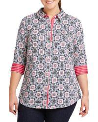 Foxcroft - Ava Tile Print Shirt - Lyst