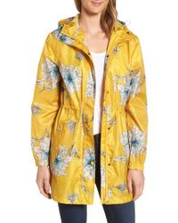 Joules - Right As Rain Packable Print Hooded Raincoat, Metallic - Lyst