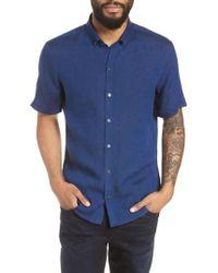 Zachary Prell - Shapiro Trim Fit Linen Popover Sport Shirt - Lyst