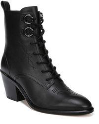 088e072f10b6e Diane von Furstenberg Dakota Leopard Lace-up Boots in Black - Lyst