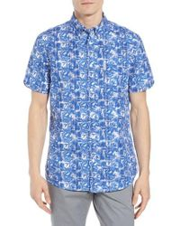 Ben Sherman - Trim Fit Floral Short Sleeve Sport Shirt - Lyst