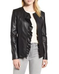 Via Spiga - Center Ruffle Leather Jacket - Lyst