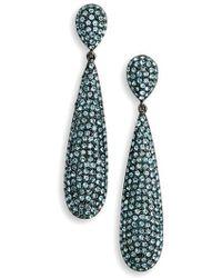 Nina - Elongated Pave Swarovski Crystal Teardrop Earrings - Lyst