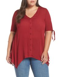 Glamorous - Tie Sleeve Button Front Tunic Top - Lyst