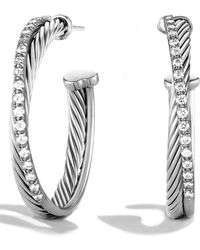 David Yurman - 'crossover' Hoop Earrings With Diamonds - Lyst