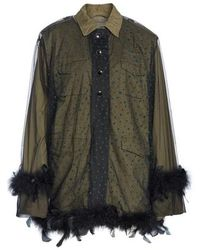 Tu Es Mon Tresor - Military Jacket With Removable Tulle & Feather Overlay - Lyst