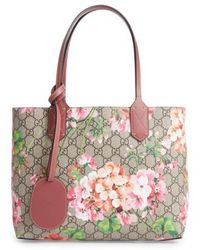 Gucci - Small Gg Blooms Reversible Canvas & Leather Tote - Lyst