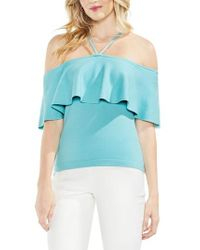 Vince Camuto - Ruffle Off The Shoulder Halter Sweater - Lyst