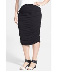 Vince Camuto - Ruched Stretch Knit Midi Skirt - Lyst