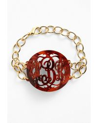 Moon & Lola - 'annabel' Large Oval Personalized Monogram Bracelet (nordstrom Exclusive) - Lyst