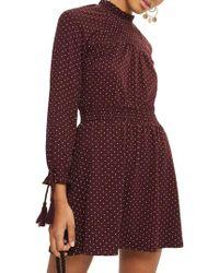 TOPSHOP | Polka Dot Shirred Waist Dress | Lyst