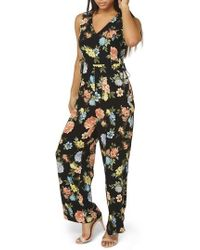 Dorothy Perkins - Floral Lace-up Jumpsuit - Lyst