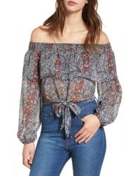 Band Of Gypsies - Off The Shoulder Tie Waist Top - Lyst
