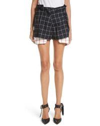 Monse - Peekaboo Windowpane Plaid Wool Shorts - Lyst
