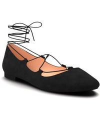 Shoes Of Prey - Ghillie Pointy Toe Ballet Flat - Lyst