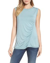 Caslon - Caslon Off-duty Shirred Sleeveless Tee - Lyst