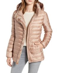 Cole Haan - Quilted Down Jacket With Faux Fur Trim - Lyst