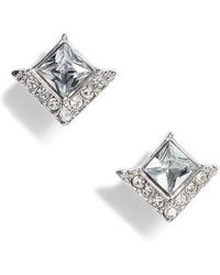 Vince Camuto - Crystal Pave Square Stud Earrings - Lyst