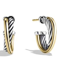 David Yurman - 'crossover' Extra-small Hoop Earrings With Gold - Lyst