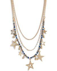 Rebecca Minkoff - Multi Star Delicate Necklace In Metallic Gold. - Lyst