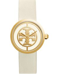 c67f7e6d4e5 Tory Burch - Reva Logo Dial Leather Strap Watch - Lyst