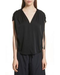 Vince - Ruched Silk Top - Lyst
