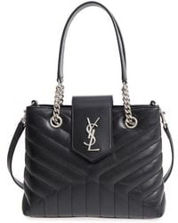 6e398296593 Saint Laurent - Small Loulou Matelasse Calfskin Leather Shopping Tote - Lyst