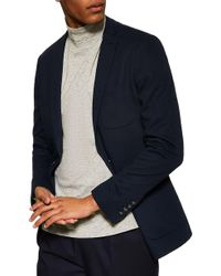TOPMAN Classic Fit Jersey Blazer - Blue