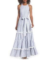 Eliza J - Tiered Tassel Fringe Cotton Maxi Dress - Lyst