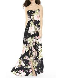 After Six - Strapless Front Slit Gown - Lyst