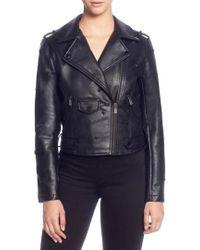 Catherine Malandrino - Star Stud Faux Leather Moto Jacket - Lyst