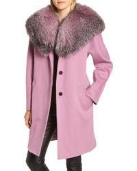 Fleurette - Wool Cocoon Coat With Genuine Fox Fur Collar - Lyst